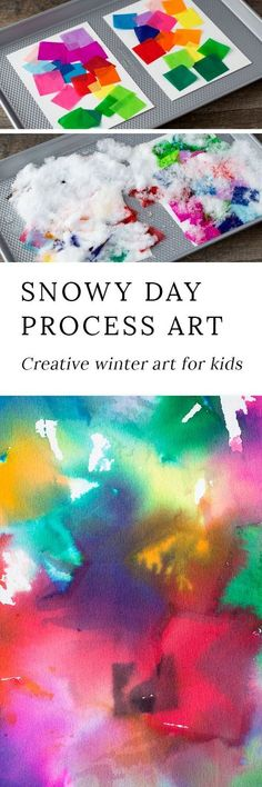 Snowy Day Tissue Paper Art is a creative winter process art project for kids of all ages. This colorful art activity is perfect for home or school! #winterart #wintercrafts #preschoolcrafts #craftsforpreschoolers#kidsactivities #winteractivitiesforkids #processart #kidsart #tissuepaperart #artforkids via @https://www.pinterest.com/fireflymudpie/
