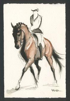 "Horse Art, Painting,Original Watercolor by Anna Noelle Rockwell, ""Lateral - Horse Love - Pferde Horse Drawings, Art Drawings Sketches, Animal Drawings, Drawing Art, Watercolor Horse, Watercolor Paintings, Original Paintings, Pastel Paintings, Horse Sketch"