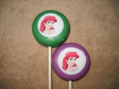 Chocolate Edible Decal Oreo Princess Ariel the Little Mermaid chocolate lollipops. castlerockchocolates at yahoo.com 307/899-7100 text any hour www.sapphirechocolates.artfire.com and stores.ebay.com/Castle-Rock-Chocolatier. usually made to ship 3 weeks after payment therefore please provide the following for a price quote w/ shipping info especially if your event falls under the 3 week estimated arrival dates * event date * character * quantity * state * zip code * email address.