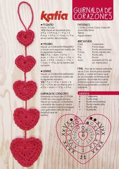 Heart Crochet Patterns Part 2 - Beautiful Crochet Patterns and Knitting Patterns Crochet Diagram, Crochet Chart, Crochet Motif, Crochet Flowers, Crochet Stitches, Crochet Garland, Crochet Decoration, Crochet Gifts, Diy Crochet