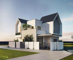 Tropical House Design, Modern Small House Design, Kerala House Design, House Front Design, Entrance Design, Facade Design, Exterior Design, Minimalist Architecture, Modern Architecture