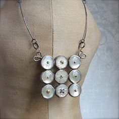 Mother of Pearl Buttons w/sterling bezels - Necklace by Quench Metalworks