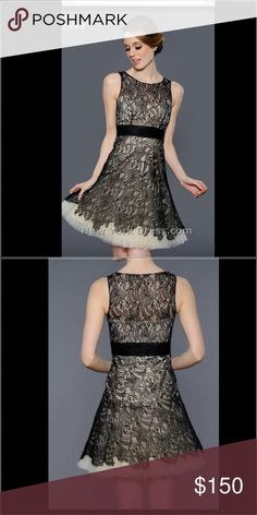 Lara homecoming/prom Black lace with a nude underlining, beautiful! Available in two size 10 and 14 Lara Dresses Mini