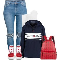 A fashion look from October 2017 by raquelregina featuring Helmut Lang, Tommy Hilfiger, H&M, Vans and MCM