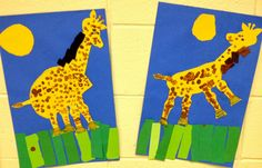We integrated Music, Art, and Movement by singing and acting . Preschool Zoo Theme, Preschool Art, African Animals, African Art, African Safari, Art Classroom, Classroom Ideas, Q Tip Painting, Kindergarten Art Lessons