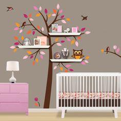 Shelf Tree Decal  Children Wall Decal  Treetop Friends par Lulukuku