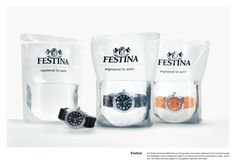 Demonstration of a waterproof diver's watch : a bag filled with water as packaging - for Festina Profundo - by Scholz & Friends agency, Berlin
