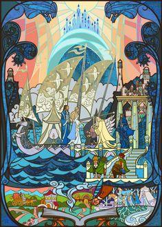 Voilà des réalisations qui pourrait me faire venir dans les églises. L'artiste Jian Guo a réalisé des illustrations sous forme de &qout;vitraux&qout;. Il reprend des moments forts de la saga Seigneurs des Anneaux. L'anniversaire de Bilbo, la traversée de la Moria, la Communauté de l'Anneau à Caras G…