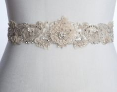 Colyn Bridal sash, wedding dress sash, wedding belt, rhinestone beaded sash with silk petals