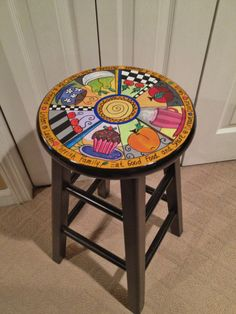 Custom Hand Painted 24 Wooden Round Top Bar by paintingbymichele