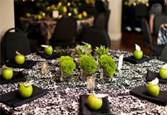 Green and black tablescape by Hitched Planning & Floral