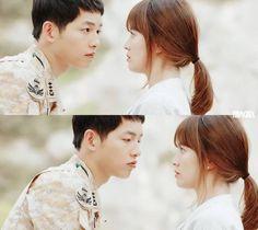 Yoo Si Jin's eyes at Kang Mo Yeon's lips