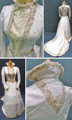 Cream silk grosgrain wedding dress in the medieval style, late 19th century. Bodice with beaded and lace detail at centre front, cuffs & collar. Cream skirt with bustle-like pleated train back with beading to hem line. Theodore Bruce Auctions