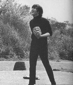 The Beatles playing softball, 1965.