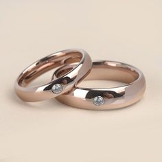 Romantic Dome Band Rose Gold Tungsten Couples' Rings With Shiny CZ Stones Width for Gift Promise Rings For Couples, Couple Rings, Silver Stacking Rings, Silver Rings, Silver Bracelets, Bangles, Rings Pandora, Rose Gold Engagement, Engagement Jewelry