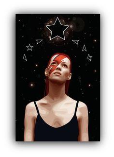 Kate Moss Ziggy Stardust Blackstar by MichaelJeanrenaud on Etsy