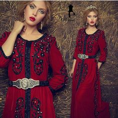 Embroidered red gown.