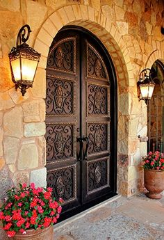 Grand Doors Makes Grand Entrance in New York, New Jersey, and Connecticut, Now Got Grander with Hand Forged Wrought Iron Doors Spanish Style Homes, Spanish House, Spanish Colonial, Hacienda Style Homes, Spanish Home Decor, Spanish Design, Spanish Revival, Cool Doors, Unique Doors