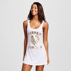 Women's Graphic Tank Swim Cover Up Dress - White - S - Xhilaration, Size: Small