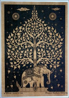 Kayso Elephant Tree Tapestry with Good Luck White Elephant Tapestry Hippie Gypsy Wall Hanging Tree of Life Tapestry and New Age Dorm Tapestry, White/Black Bodhi Tree, Tree Of Life Tapestry, Mandala Tapestries Wall Hangings, Art, Mandala Tapestry