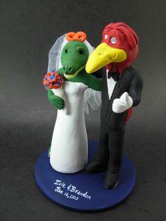 Custom made to order Cardinal and Alligator college mascot wedding cake toppers. $235 www.magicmud.com 1 800 231 9814 magicmud@magicmud... blog.magicmud.com twitter.com/... $235 #mascot #collegemascot #hokie #ms.wuf #gators #virginiatech #football mascot #wedding #toppers #custom #Groom #bride #weddingcaketoppers #caketoppers www.facebook.com/... www.tumblr.com/... instagram.com/... magicmud.com/Wedding photos.htm
