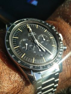 Vintage OMEGA Speedmaster Calibre 321 Moonwatch In Stainless Steel Circa 1960s - https://omegaforums.net Omega Speedy SpeedyPro Speedmaster Speedmasterpro Menswear Mensfashion Wristshot Womw Wruw Horology Classic Timeless Watches Watchporn Fashion Style Preppy Montres Uhren Orologio Chrono Chronograph Vintage Edwhite Cal321 Calibre321 Moon Moonwatch NASA