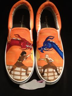 Items similar to Custom Designed Hand Painted Shoes on Etsy Custom Painted Shoes, Hand Painted Shoes, Custom Shoes, The Last Airbender Anime, Avatar The Last Airbender, On Shoes, Me Too Shoes, The Last Avatar, Viking Life