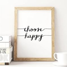 Choose Happy http://www.amazon.com/dp/B016LFS0D6 word art print poster black white motivational quote inspirational words of wisdom motivationmonday Scandinavian fashionista fitness inspiration motivation typography home decor