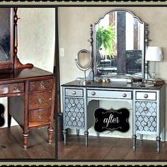 Modern Masters Silver Metallic Paint creates a stunning vanity makeover by Cathie Stotesbery of Re-Imagined!