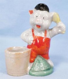 Vintage Pig Pin Cushion Pincushion Three Little Pigs Porcelain Made Japan NICE