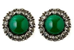 One Kings Lane - Glamorous Details - Karenina Chrysoprase Button Earrings