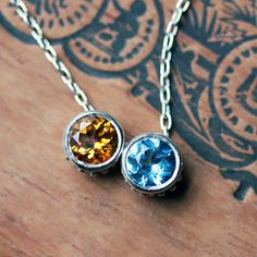 Birthstone bezel necklace  solitaire  slider by metalicious