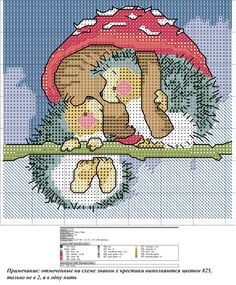 Hedgehogs under mushrooms cross stitch chart Hedgehog Cross Stitch, Cute Cross Stitch, Cross Stitch Animals, Counted Cross Stitch Patterns, Cross Stitch Charts, Cross Stitch Designs, Cross Stitch Embroidery, Embroidery Patterns, Diy Broderie