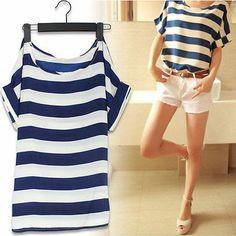 New Fashion Strips 2014 Women Ladies Chiffon Tops Blouse Summer Shirt Frock Blue
