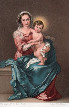 Post Card of Blessed Mother Mary and Baby Jesus Removed Mother Of Christ, Blessed Mother Mary, Blessed Virgin Mary, Religious Images, Religious Art, Statues, Vintage Holy Cards, Mama Mary, Religious Paintings