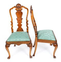 Early 20th Century Edwardian Queen Anne Revival Dining Table and 8 Chairs For Sale 10 Buy Dining Table, Walnut Dining Chairs, Dining Room Sets, Walnut Burl, Walnut Veneer, Piano Stool, Walnut Furniture, Chair Height, Table And Chair Sets