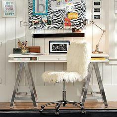 Home Office: Brown Wood finish, dark nickle A-Frame leg Customize-It Storage A-Frame Desk #pbteen