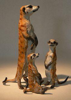 meerkat family 1 - raku sculpture