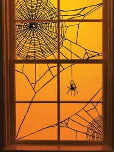diy: halloween spiderweb window decoration | diy+fyi | creatively created