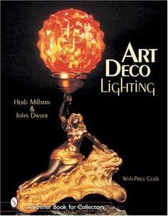 Art Deco Lighting (Schiffer Book for Collectors) by Herb Millman +++ Electrical lighting fixtures from the 1920s - 1940s reflect the popular taste for Art Deco styling in public, commercial, and home interiors. Beautiful color photographs of dramatic lights from theaters, important houses, great architects, and interior designers fill this stunning book, ... Fixtures shown include radio and accent lamps, boudoir lamps, wall sconces, ceiling fixtures, bridge lamps, torchieres, and smoking…