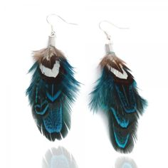 Blue feather earrings offered on earrings-4-divas.com