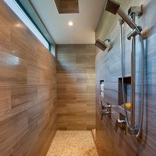 contemporary bathroom by Rockridge Fine Homes  I like the doorless walk through shower and the high frosted windows also dual shower area