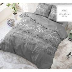 Sleeptime Love And Relax - Grijs Relax, How To Make Bed, Linen Bedding, Bed Linen, Comforters, Duvet Covers, Pillow Cases, Blanket, Bedroom