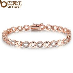 BAMOER Exquisite  Rose Gold Plated Heart Chain Link Bracelet for Women Shining AAA Cubic Zircon Crystal Jewelry JIB019