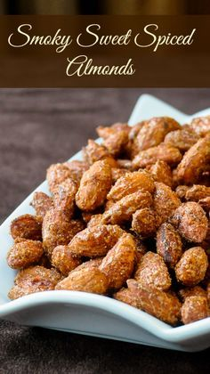 I was first introduced to these terrific snacking nuts when my work colleague, Elizabeth brought them to share at an office get together. I loved them immediately and from chatting with her discovered i Rock Recipes, Nut Recipes, Cooking Recipes, Smoker Recipes, Almond Recipes, Cooking Tips, Spicy Almonds, Pecans, Spiced Nuts