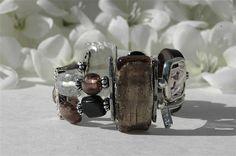 Gray stretch bracelet double row bracelet by BijouChantaleGelinas, $35.00