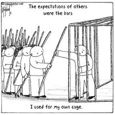 It would be easy to blame others for our cages. The truth is that we're responsible for ourselves. Yes, their expectations are hard to ignore, but we've taken these and used them to define our lives. Wisdom Quotes, Me Quotes, Motivational Quotes, Inspirational Quotes, Meaningful Pictures, A Silent Voice, Reality Quotes, Mbti, Deep Thoughts