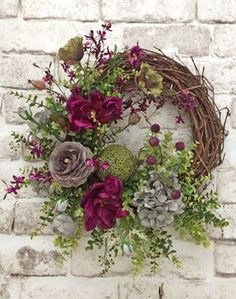Summer Door Wreath, Front Door Wreath, Summer Wreath for Door, Outdoor Wreath, Spring Wreath, Silk Floral Wreath, Grapevine Wreath, Door Decoration, Wreath on Etsy - This beautiful silk floral wreath was handmade using a grapevine wreath base adorned with gorgeous velvety fuchsia-purple silk flowers, apple green silk flowers, and soft gray silk flowers, lush artificial greenery, moss, and a green deco ball. This wreath would look wonderful displayed on your wall, mirror, mantel, or front…