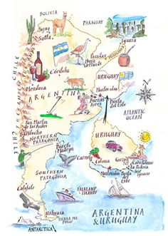 Argentina Travel Map | Carte Illustrée de l'Argentine et l'Uruguay, Amérique du…