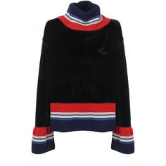 Vivienne Westwood Anglomania Hendricks Sweater (£215) ❤ liked on Polyvore featuring tops, sweaters, bell sleeve tops, stripe sweaters, embroidered top, striped high neck top and flared sleeve sweater